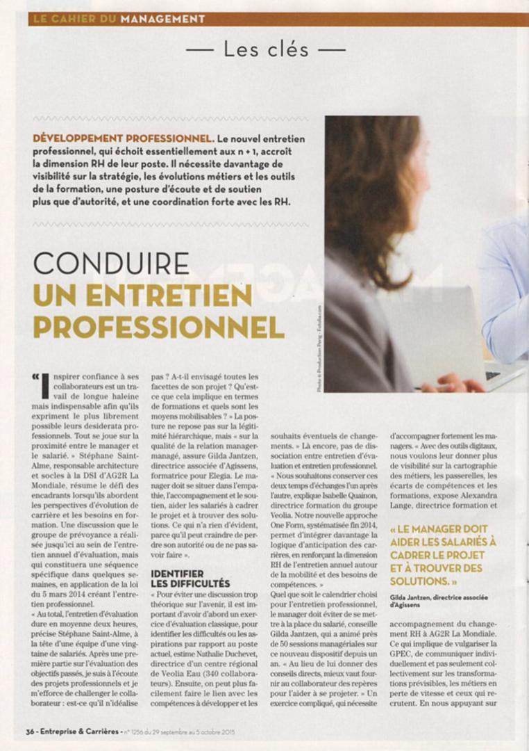 Gilda Jantzen - article paru dans Entreprise & Carrières, octobre 2015 page1