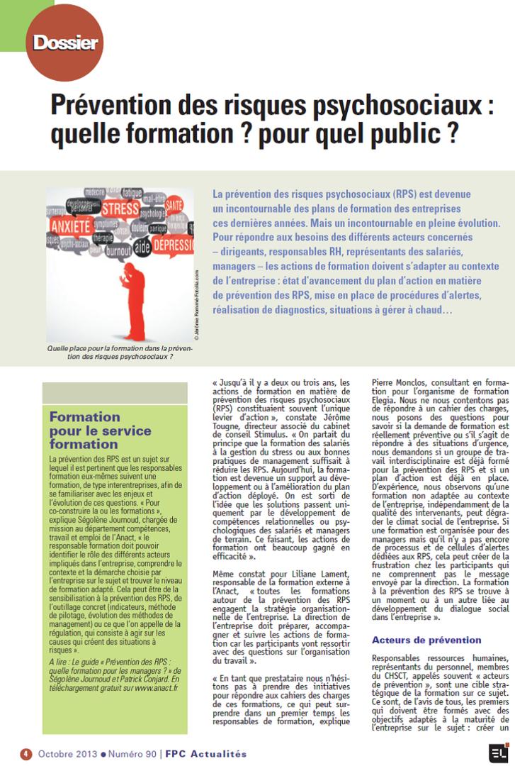 Risques Psychosociaux : quelle formation pour quel public ? Article paru dans la lettre de la formation continue, octobre 2013