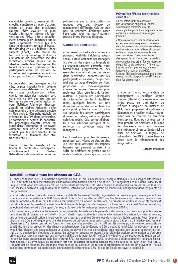 La lettre de la formation continue, octobre 2013, propos de Mathilde Faidherbe recueillis par Barbara Pasquier