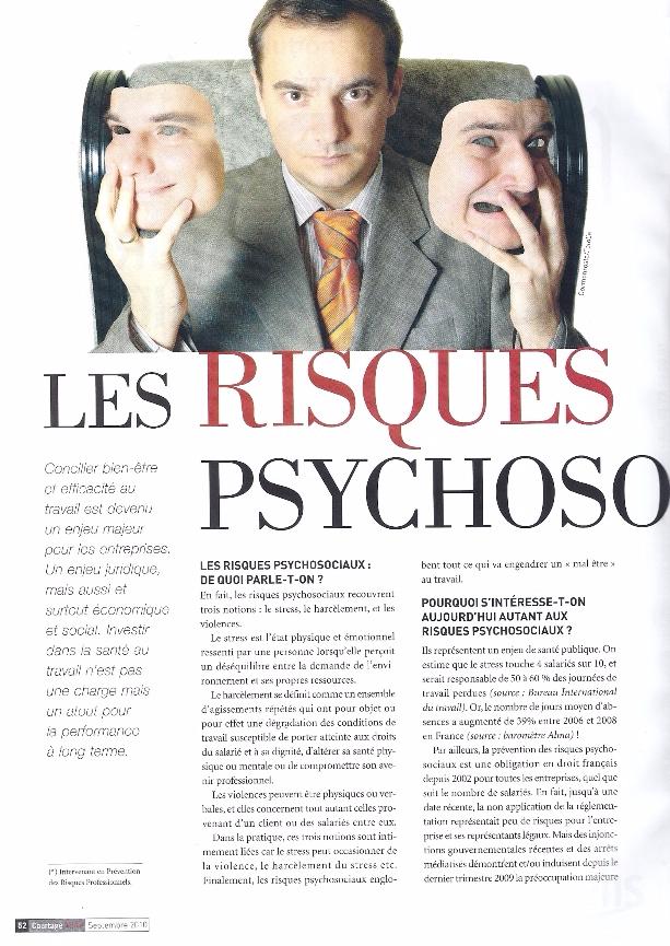 Les risques psychosociaux, Courtage News, septembre 2010 p1