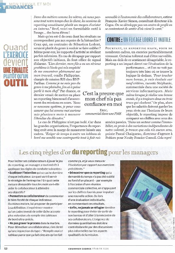 Les limites du reporting dans le management, propos de Mathilde Faidherbe recueillis par Courrier Cadres p3