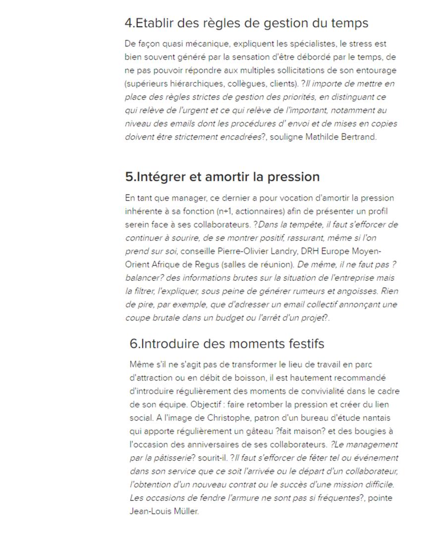 Savoir gérer la pression, propos de Mathilde Faidherbe recueillis sur l'expansion.com