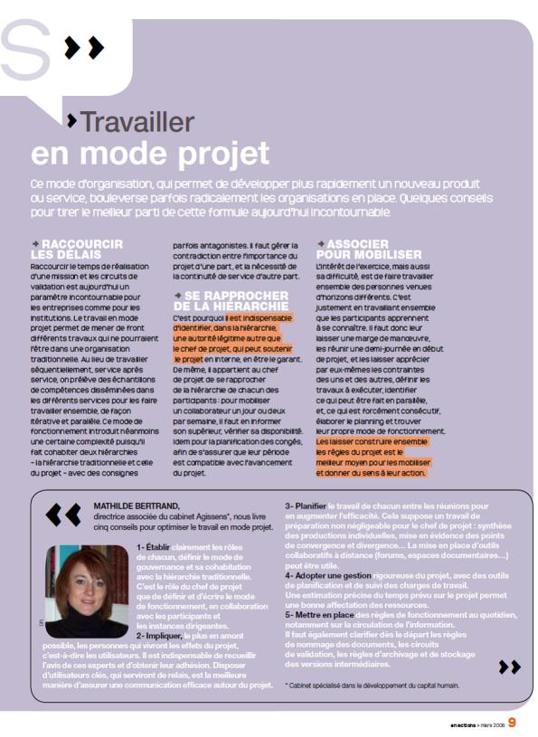 Travailler en mode projet. Interview de Mathilde Faidherbe