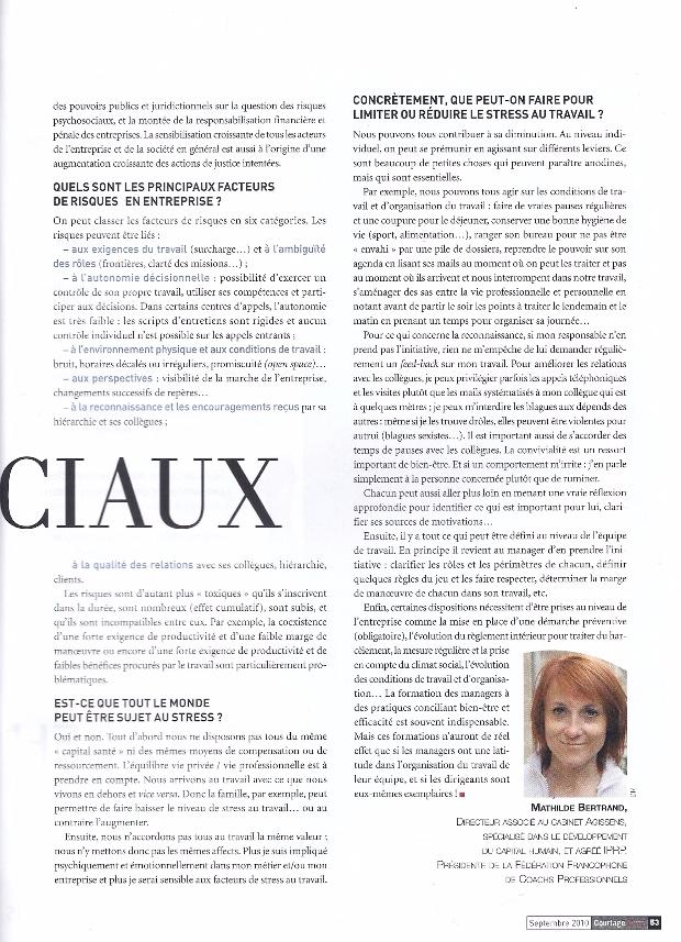 Les risques psychosociaux, Courtage News, septembre 2010 p2