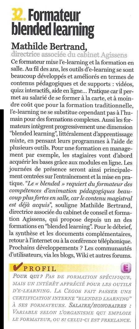 La formation blended learning, Mathilde Faidherbe pour Courrier Cadres, 2009