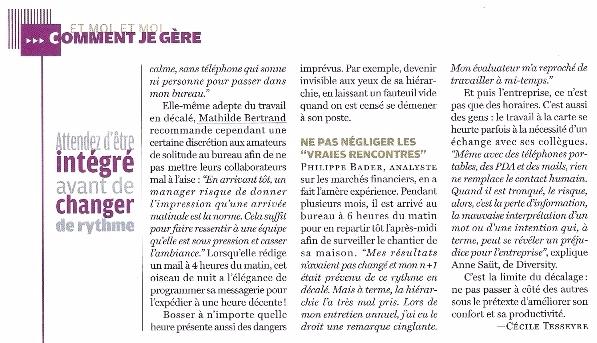 Travailler en horaires décalés, Courrier Cadres, Mathilde Faidherbe interviewée par Coralie Donas p2