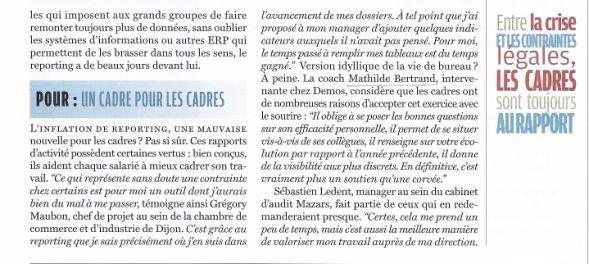 Les limites du reporting dans le management, propos de Mathilde Faidherbe recueillis par Courrier Cadres p2