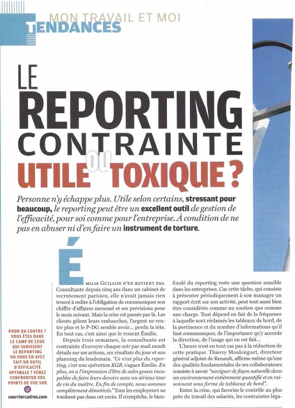 Les limites du reporting dans le management, propos de Mathilde Faidherbe recueillis par Courrier Cadres p1