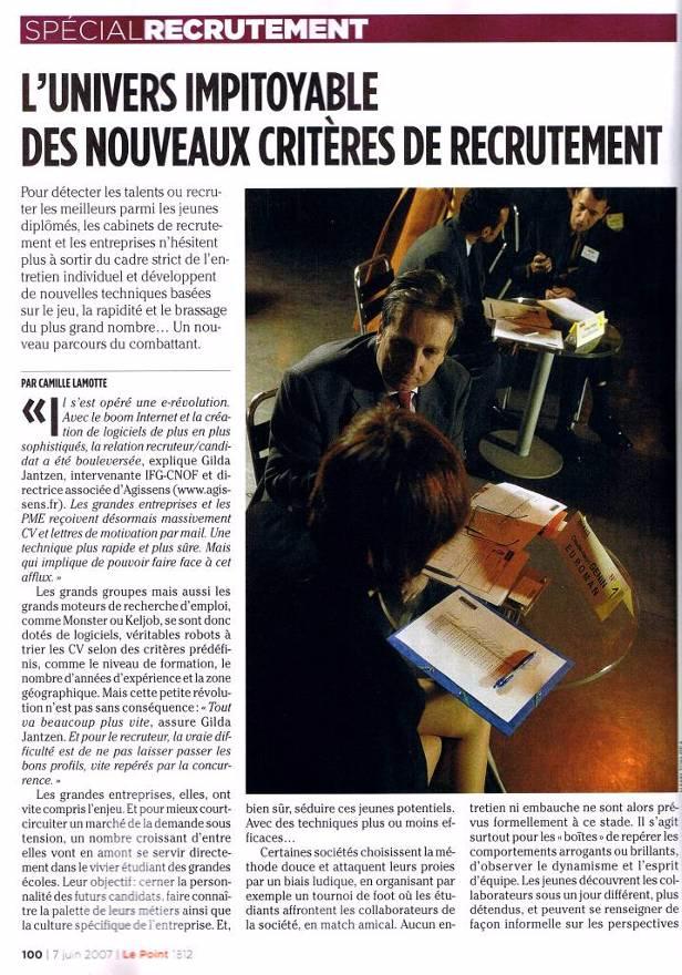 Les nouveaux critères de recrutement, Gilda Jantzen interviewée par Le Point , p1