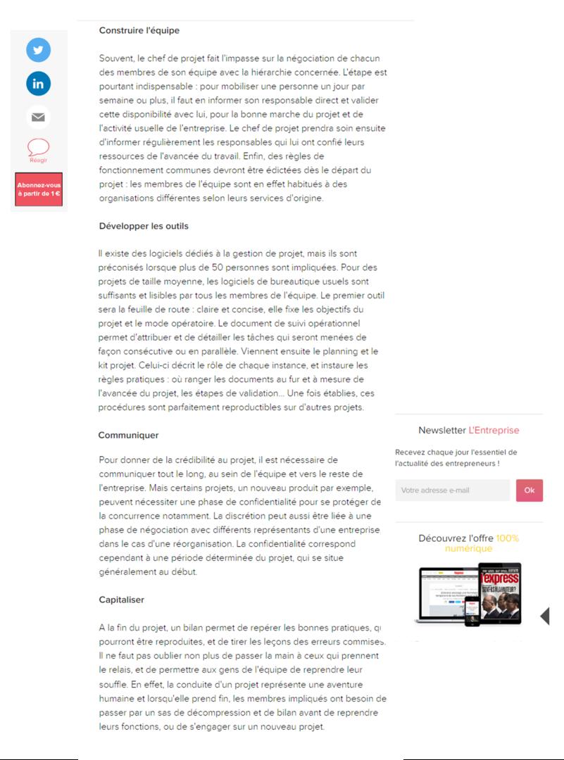 Les clés d'un bon management par projet, Mathilde Faidherbe pour l'entreprise.com, page2