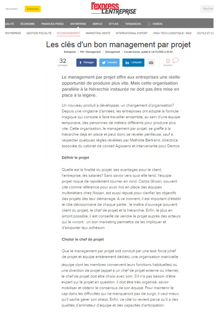 Les clés d'un bon management par projet, Mathilde Faidherbe pour l'entreprise.com, page1